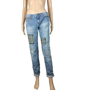Free People patchwork predistressed jeans